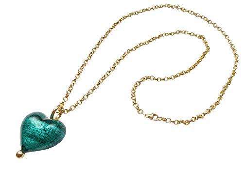 Lange Glieder-Kette Sterling-Silber gold-plattiert 585 Anhänger echtes Murano-Glas grün-türkis Goldschmiede-Arbeit kostbar stilvoll