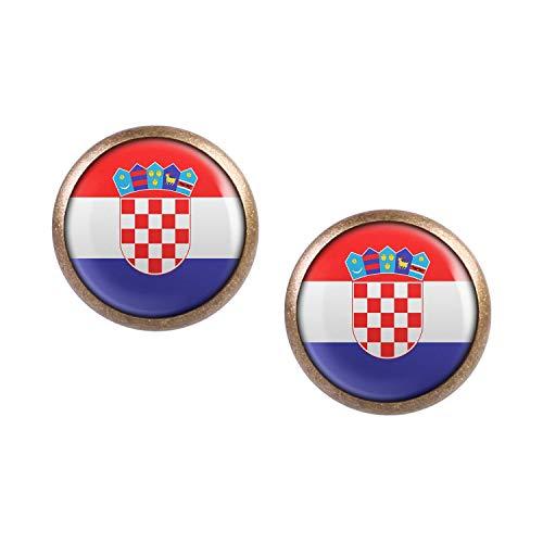 Mylery Ohrstecker Paar mit Motiv Kroatien Zagreb Croatia Flagge bronze 12mm