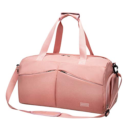 HOKEMP Sports Gym Bag with Wet Pocket & Shoes Compartment Travel Weekender Duffel bag For Men and Women (Pink)