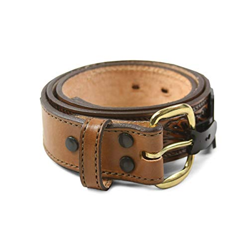 """R.G. BULLCO - USA Made - 1-1/2"""" Full Grain Leather Belt with Floral Design and Overlay Tips - Brown - Size 36 - RGB-5402"""