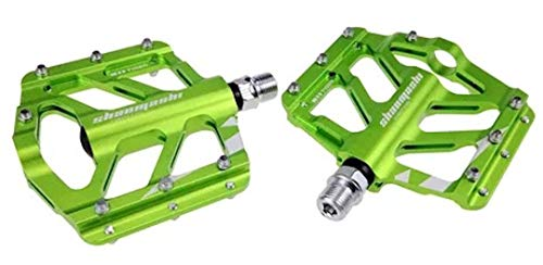 Evetin Flat Platform Ultra-Light MTB Bicicletta da corsa in lega di alluminio, pedali Tiger (verde)