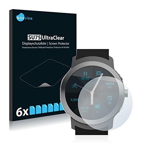 Savvies 6X Schutzfolie kompatibel mit LG Watch Sport Bildschirmschutz-Folie Ultra-transparent