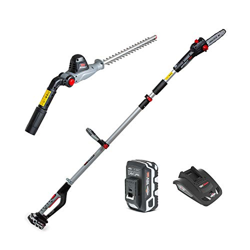 SPRINT 18PSHK 18V Li-Ion Cordless 20cm Pole Saw & 41cm Hedge Trimmer 2-in-1 Kit, 5.0Ah Battery and Charger Included, Telescopic Shaft, 5 Years Warranty, 1688107, 18 V