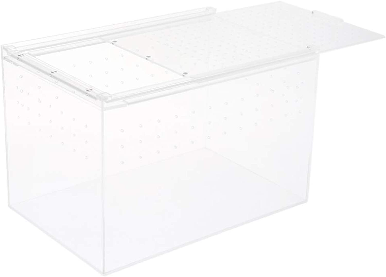 MagiDeal Clear Acrylic Terrarium Box Reptile & Amphibian Lizard Turtle Breeding Box  L
