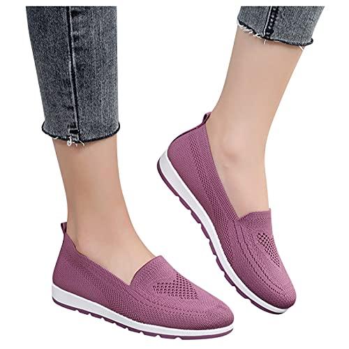 Mocasines Mujer Verano Transpirable Zapatillas de Deportivos para Mujer Running Zapatos de Moda Casual Asfalto Ligeras Calzado Aire Libre Sneakers Zapatillas Mujer de Fondo Suave