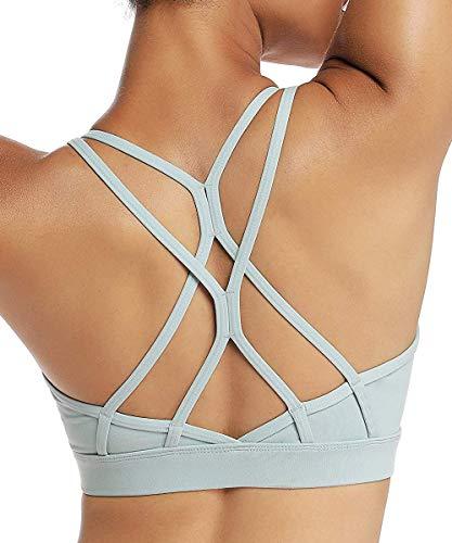 Yaavii Sport BH Starker Halt Gepolstert Push Up Frauen Bustier Atmungsaktiv Bra Top ohne Bügel für Yoga Fitness-Training Grün M