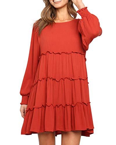 R.Vivimos Women's Fall Cotton Long Sleeves Ruffled Casual Loose Swing Flowy Tunic Mini Dress (Large, Red)