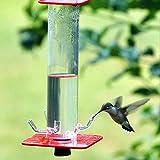 LUDAXUE Hummingbird Maningreer pour l'extérieur Suspendu Tube Transparent Rouge Vif avec 6 Ports d'alimentation Suspendus Tube Transparent Rouge Vif Facile à Nettoyer, pour, Patio, Jardin, Yard