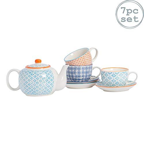 Nicola Spring Service à thé et à café - Porcelaine à Motifs - théière et 3 Tasses et sous-Tasses de Couleurs différentes