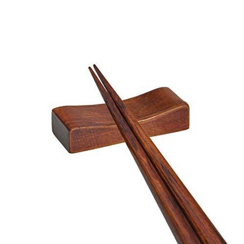 Tea Talent Handcrafted Wooden Chopsticks Rest or Dinner Spoon Stand Fork and Knife Holder Home Decor Set of 6,Concave Shape