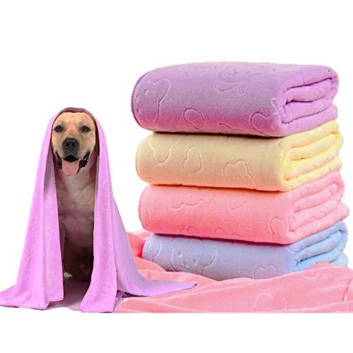 Toalla para perros,Toalla de baño de microfibra de secado rápido para perros, toallas de secado rápido, toalla absorbente adecuada para perros pequeños y medianos cachorros, 140 x 70 cm (morado)