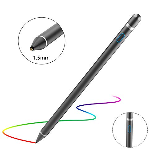 Domiy Active Stylus Pen for Touch Screens, Rechargeable Pencil Digital Stylus Pen Compatible with iPad and Most Tablet (black)