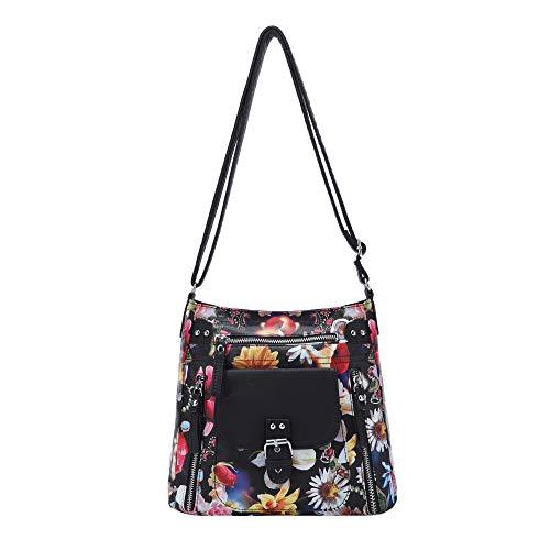 Angel Kiss Crossbody Bags for Women Shoulder Purses and Handbags, PU Washed Leather (AK-KE2053H#1284#L54/6802#BLACK/BLACK)