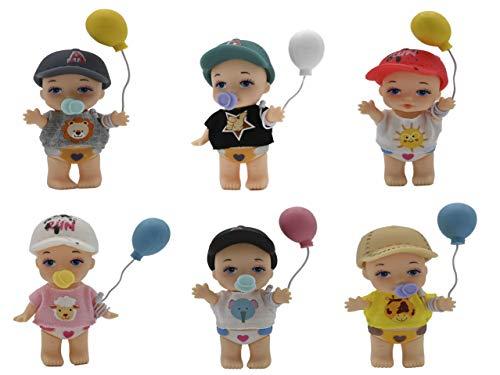 ML 4 muñeco con Chupete y biberon - para Bebe Juguetes de siciliana con Aroma a Vainilla Pack 4 PCS muñecos Que Hacen Pipi- 8cm Cuerpo, Brazos y piernas móviles