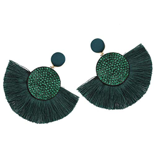 Pendientes largos de aro con borla de diamantes sintéticos de imitación para mujer, de Moonring As description show verde oscuro