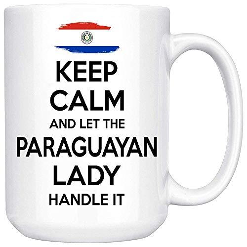 N\A Tazas Personalizadas - Regalo paraguayo para Mujer, Abuela, mamá, tía, Novia, Taza de café con Leche, mantén la Calma y Deja Que la señora paraguaya la maneje