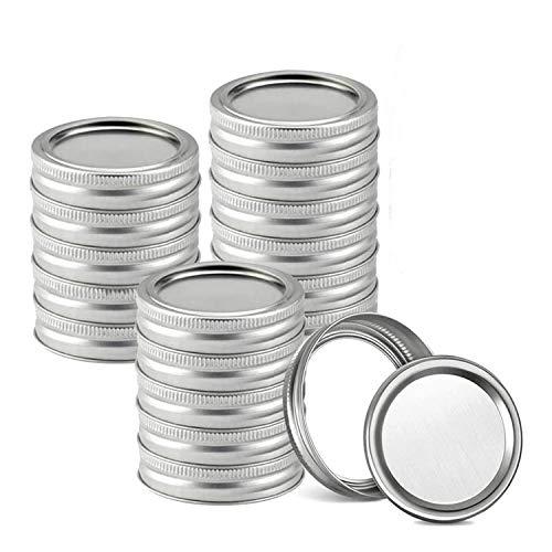 SovelyBoFan Tapas para Conservas Mason Jar, Tapas y Bandas para Conservas Mason, Tapas para Tarros Mason de Boca Regular, Tapas Divididas una Prueba de Fugas (86 Mm)
