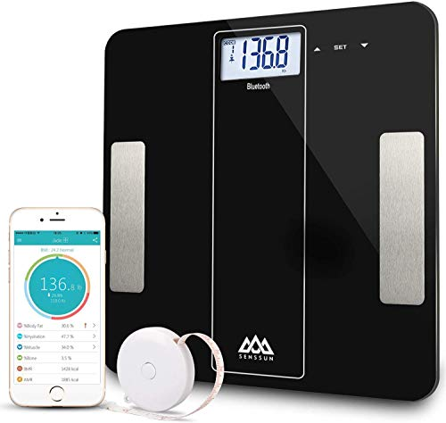 SENSSUN Wireless Bathroom Weight Scale Bluetooth Body Fat Scale Body Composition Analyzer with iOS and Android APP for Body Weight, Fat, Water, BMI