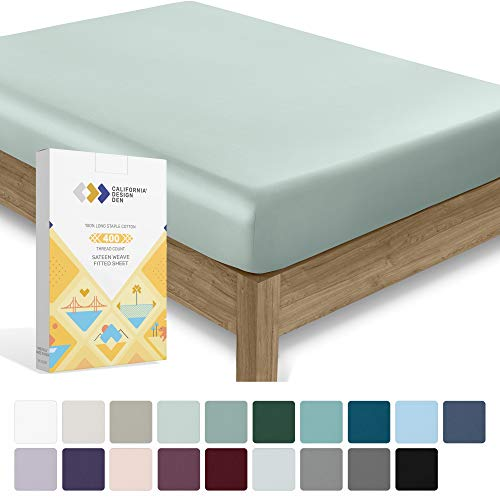 400 Thread Count Queen Size Modern Aqua Spa Fitted Sheet - 100% Cotton 1 Piece Bottom Fitted Sheet Only, Long Staple Pure Natural 100% Cotton Bedsheet, Lightweight, Soft & Silky Sateen Weave Sheet