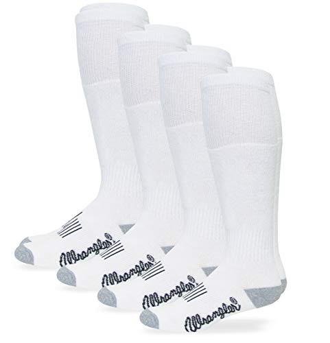 Wranglers Mens Womens Kids Smooth Toe Seam Cushion Boot Crew Socks 4 Pair Pack (Wellington Boot Sock - White - Large)