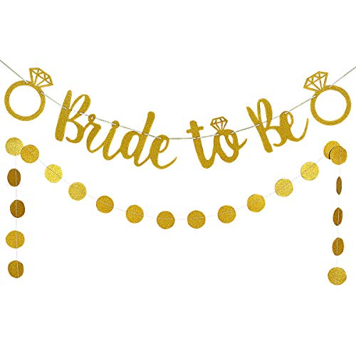 Gold Glittery Bride to Be Banner and Gold Glittery Circle Dots Garland (25pcs circle dots)- Bachelorette Wedding Engagement Party Decoration Supplies