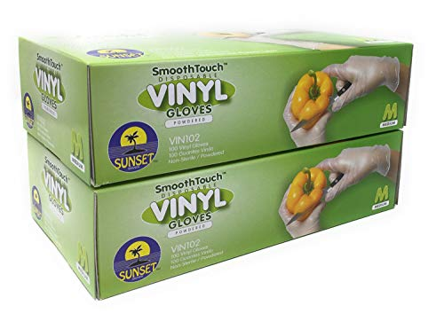 200 Disposable Viny Gloves, Non-Sterile, Powedered, Easy Slip On/Off, Smooth Touch, Food Service Grade, Medium Size [2x100 Pack]