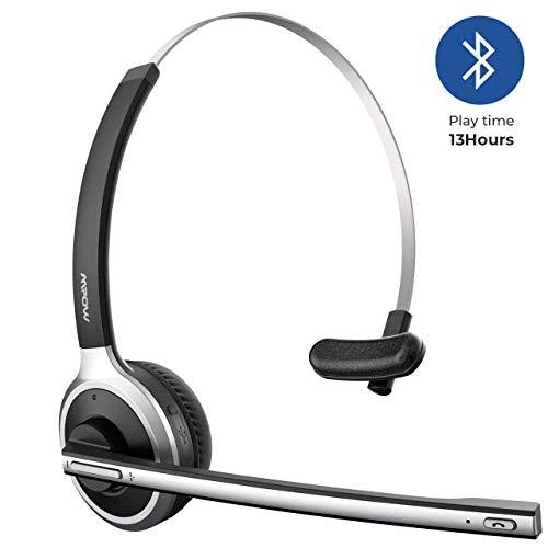 Mpow [Upgrade-Version] Bluetooth Headset LKW-Fahrer Wireless Headset mit Mikrofon 13 Stunden Laufzeit Bluetooth Telefon Chat Headset für Handy, Laptop,VoIP, Skype, Call Center, Büro Schwarz-078