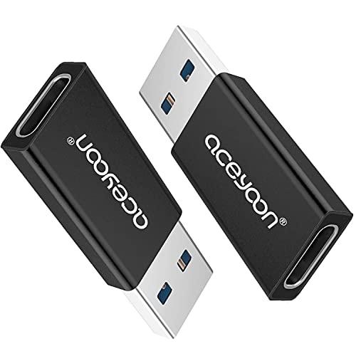 aceyoon Adaptador USB Tipo C a USB 3.0 2 Unidades USB3 Macho a USBC Hembra Conversor 5Gbps Rapida Negro USB 3.0 USB-C Conector Mini compatible para Huawei Mate 10 20 P10 P20 Galaxy, y más