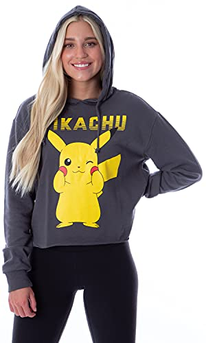 Pokemon Women's Pikachu Blushing Red Cheeks Skimmer Pullover Hoodie (L)