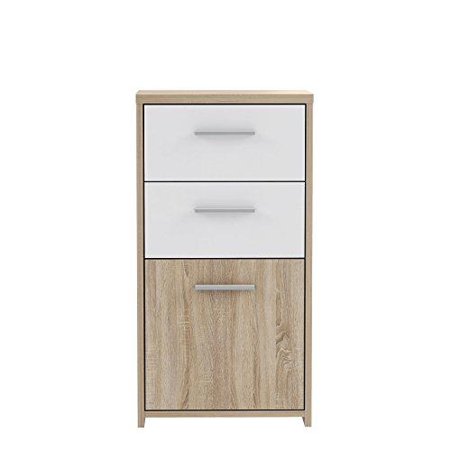 FORTE Kommode, Holz, Sonoma Eiche Dekor Kombiniert Mit Weiß, 40.3 x 29.6 x 77.5 cm