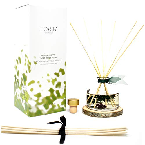 LOVSPA Winter Forest Pine Reed Diffuser Gift Set Juniper Berries, Sandalwood & Cedar Notes | Made with Real Botanicals + Wooden Coaster | Proudly Made in The USA