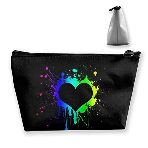 Womens Cosmetic Bag Pattern Pouch Purse Handbag with Zipper, Toiletry Travel Bag for Brushes Jewelry Accessories Collection (Colorful Splash Painting Love Heart Black)