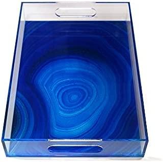 Zodax Deep Blue Agate Acrylic Lucite Rectangular Tray 15 x 10.25 x 2.25