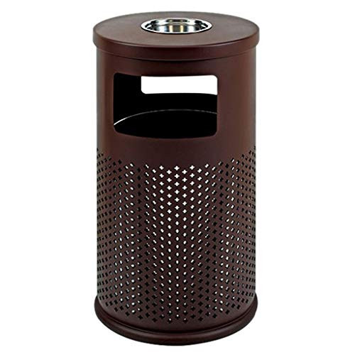 Xiaokeai Outdoor Trash Can Trash Can Outdoor Large Recycling Bin Cylindrical, Suitable for Park School Public Areas (Green) Can be Used in Garden Road Plaza Hotel, Etc. (Color : Brown)