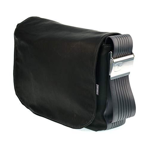 Ledertasche CANVASCO Urban Deer L/Tasche aus Hirschleder/Gurt grau-schwarz