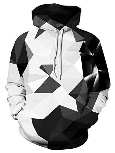 ALISISTER Kapuzenpullover Herren Damen 3D Realistisch Geometrie Design Pullover Hoodies Unisex Beiläufig Sport Party Fleece-Innenseite Warm Kostüme Hooded Sweatshirt XXL