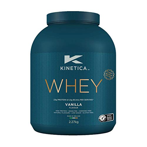 Kinetica Whey Protein Powder, 76 Servings, Vanilla, 2.27kg. Low Carb, Grass Fed Whey. High Protein Source for Lean Muscle Mass