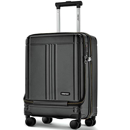Merax Laptop Cabin Luggage Lightweight Hard Shell 4 Wheels Suitcases with TSA Lock Luggage Set (20/24/SET of 2) (20, Black)