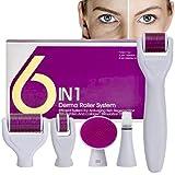 Derma Roller,AMAYGA Rodillo Agujas,Microneedle Derma Roller,Sistema de microagujas 6 en 1 por para reducir arrugas,puntos oscuros,cicatrices,celulitis,estrías para usar en cara,cuerpo