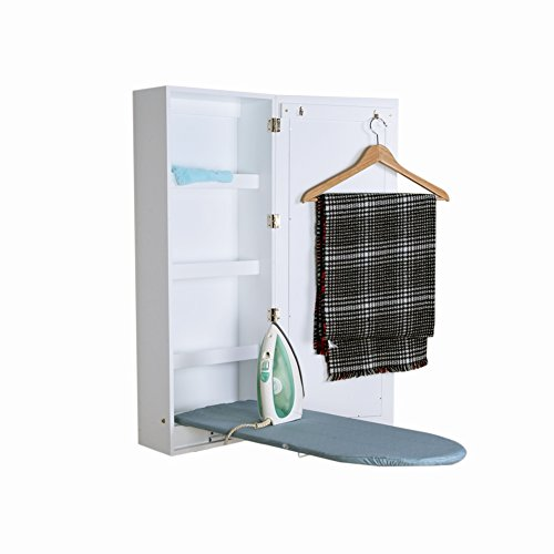 Facilehome Ironing Board Cabinet Wall Mounted Storage Cabinet Foldable with Mirror,White