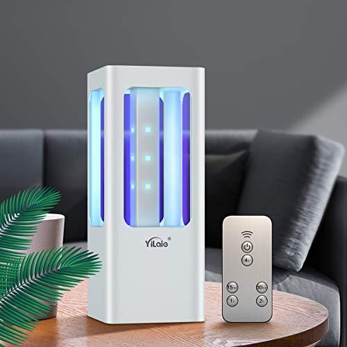 Lampada disinfezione UVC YiLaie, lampada germicida a LED con telecomando, lampada disinfezione alimentata da batteria portabile, in auto, camera da letto, bagno, cucina, scarpiera, bagno, 12 W