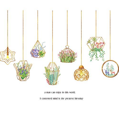 CSCZL Cesta suculenta Pegatinas de pared Sala de estar Comedor Cocina Vinilos removibles Tatuajes de pared Arte Decoración para el hogar Plantas Murales