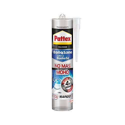 Pattex Baño Sano No Más Moho, silicona antimoho e impermeable, silicona transparente duradera cocina y baño, resistente silicona sanitaria, 1 cartucho x 280 ml