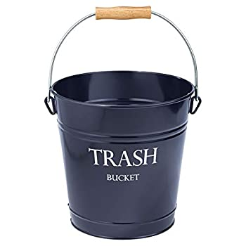 mDesign Small Round Metal Trash Can Pail Wastebasket Garbage Container Bin for Bathrooms Kitchens Home Offices - Farmhouse Decor - Portable Wood Grip Handle - Navy Blue/White Lettering