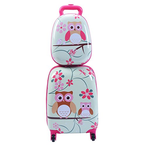 2 pcs 12' 16' Green ABS Kids Suitcase Backpack Luggage Set Durable Multi-directional Wheels Fits for Traveling, Outdoor Activities, etc