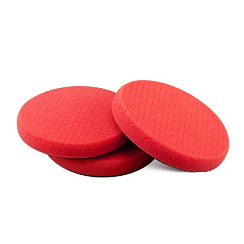 SPTA Red Finish Polishing Pads, Buffing Pads, 3Pcs 6.5 Inch Face for 6 Inch 150mm Backing Plate Compound Buffing Sponge Pads for Car Buffer Polisher Compounding, Polishing and Waxing -X00224R6B3
