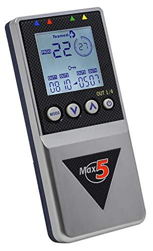 electroestimulador Tesmed Max5 con 12 electrodos - Pila Recargable - tonificación, reafirmación, Drenaje, modelación, Tratamiento de la Celulitis, Ondas secuenciales