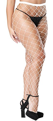 Pareberry Women's High Waisted Fishnet Tights Sexy Wide Mesh Fishnet Stockings (White(Big Hole))