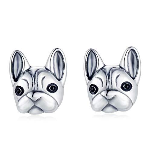 Presentski French Bulldog Stud Earrings Animals 925 Sterling Silver Animal Bulldog Studs Earring for Girls Women Dog Lovers