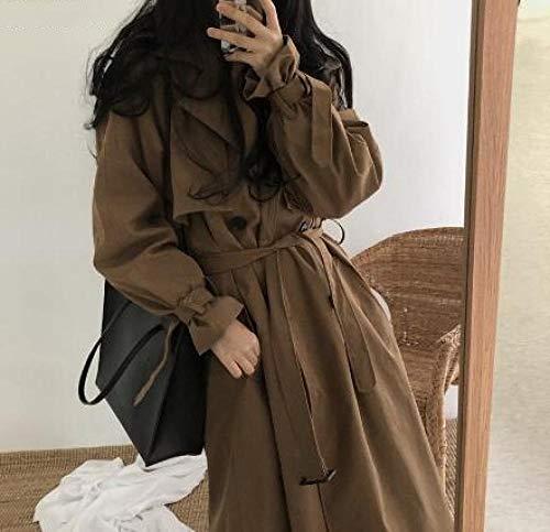 Wuyuana Cappotto Trench eversize da Donna Scura retrò, Gonna Medio-Lunghezza Elegante con Cintura Larga, Trench da Donna .Cappotti da Donna (Color : Brown, Size : Small)